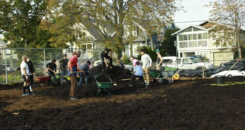 Students work in Victoria High School garden to prepare it for spring planting!